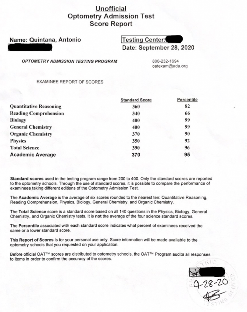 Optometry Admission Test - Antonio Quintana OAT Exam Score Report